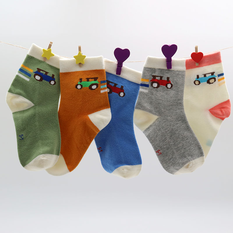 APAKOWA 5 Pairs/a Lot Kids 100% Cotton Socks Spring & Autumn Children Cartoon Ankle Socks For 2-7 Years Boys Girls Short Socks