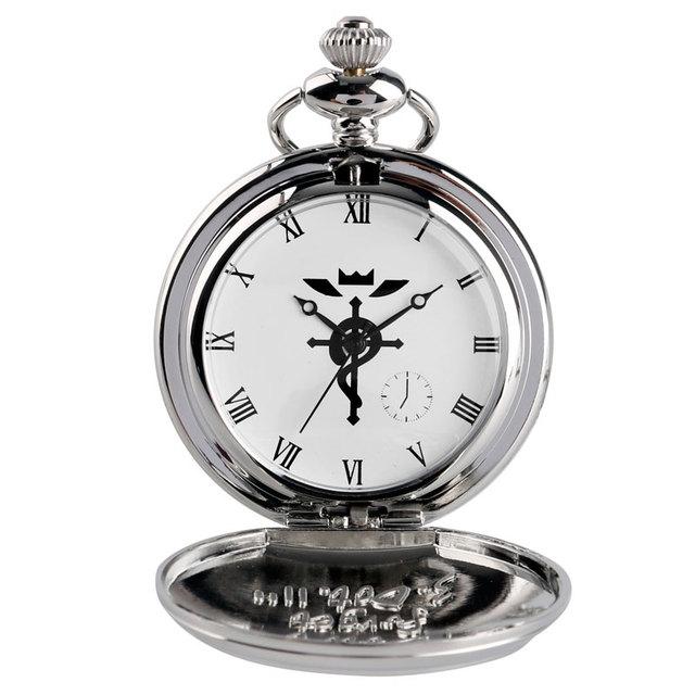 2017 Silver Anime Fullmetal Alchemist Pocket Watch Cartoon Quartz Clock Hour Women Men Boys Necklace Birthday Gift Free Shipping