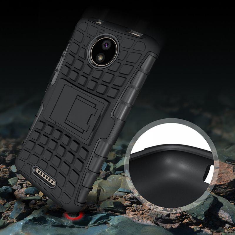 Для Moto C Plus Панцири Гибридный защитник Подставки шины матовая Прочный противоударный кремния мягкий чехол для Motorola C чехол крышка
