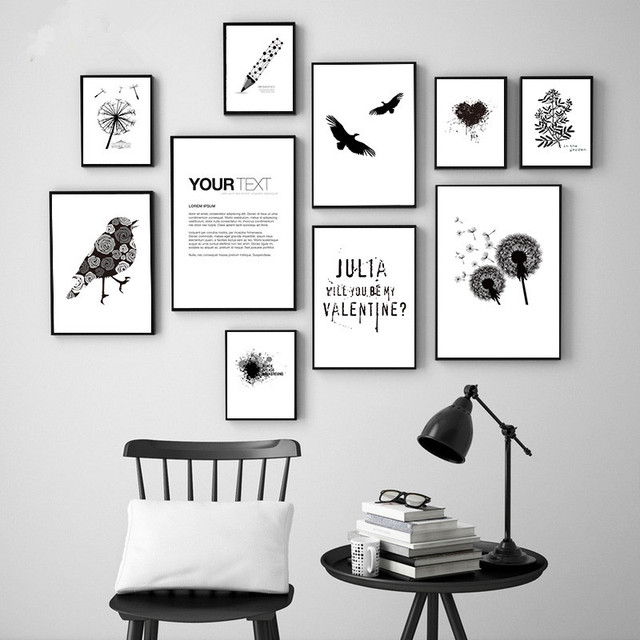 nordic einfache l wenzahn schwarz wei wandbild decor lgem lde kunst leinwand wandbild f r. Black Bedroom Furniture Sets. Home Design Ideas