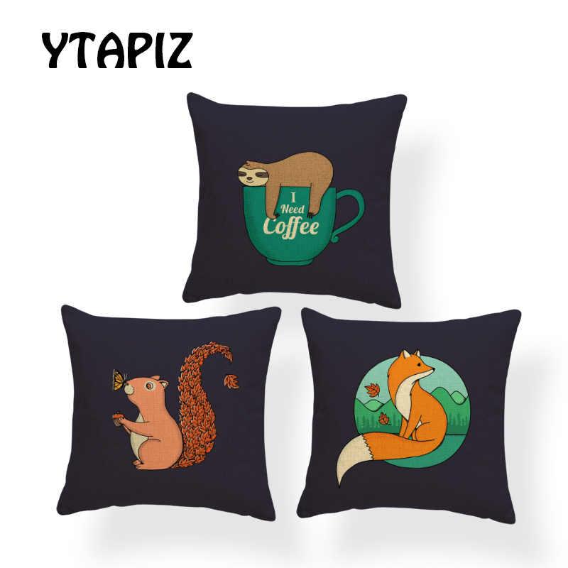 Animais fofos Fronha Cat Fox Borboleta Árvore Esquilo Cão Xícara de chá Preguiçoso Carta Geometria Decoração do Quarto Sofá Capa de Almofada
