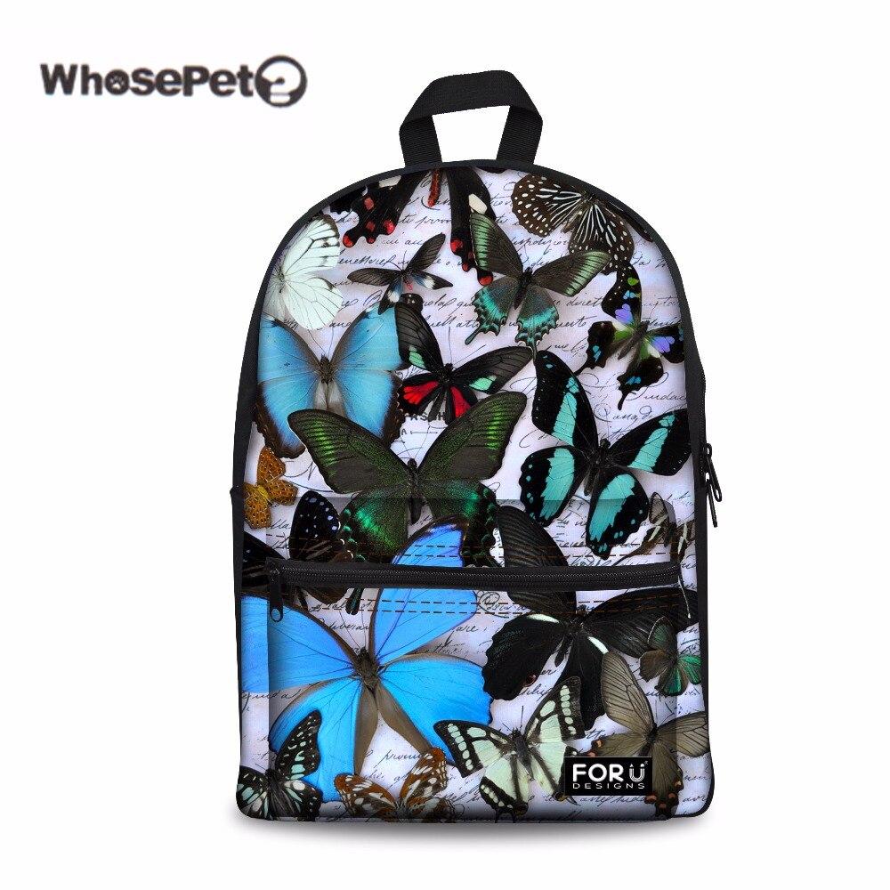 Whosepet бабочка мода Школьные ранцы Для женщин детей школьный рюкзак для подростков Обувь для девочек Bolsas Mochilas femininas новинка 2017 года