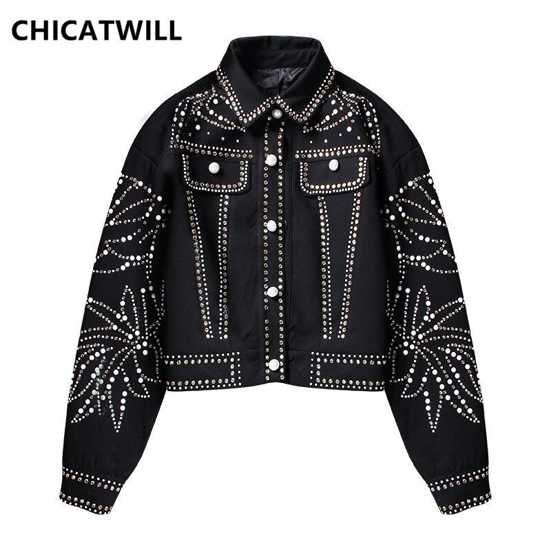 CHICATWILL Designer piste Punk petit ami Bling Bling paillettes yeux étoiles Bomber vestes décontracté casual BF hauts vêtements d'extérieur