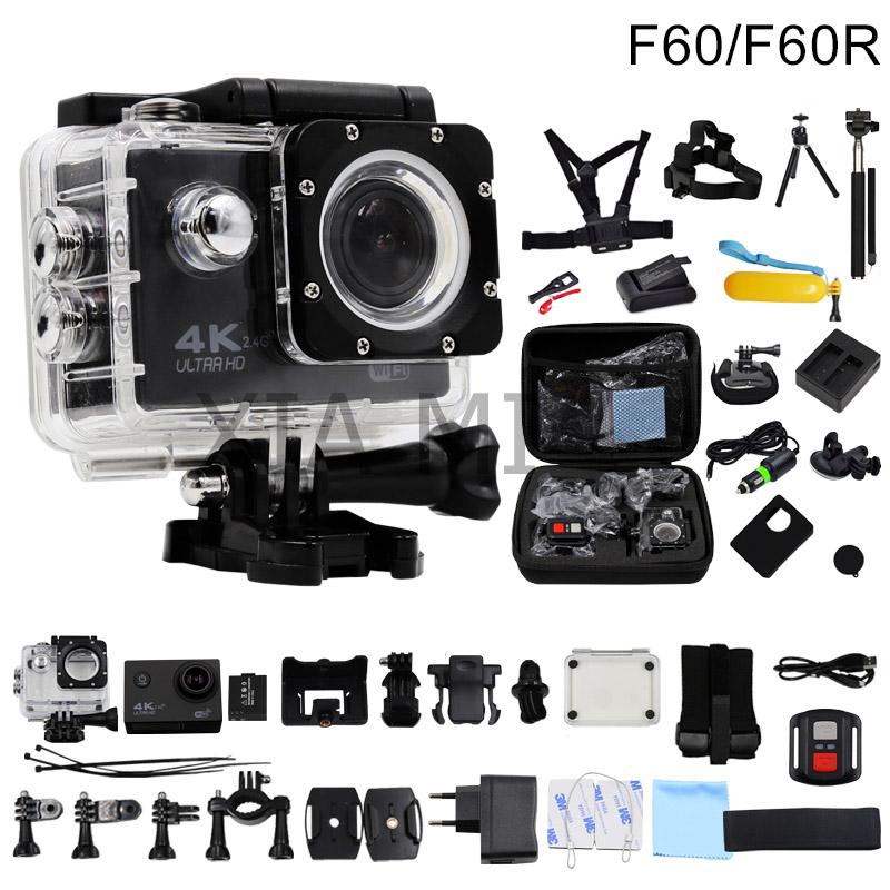 Prix pour Huaguo f60/f60r d'action caméra 4 k/30fps 16mp wifi 170d casque cam sous-marine aller étanche pro sport caméra hero 4 style
