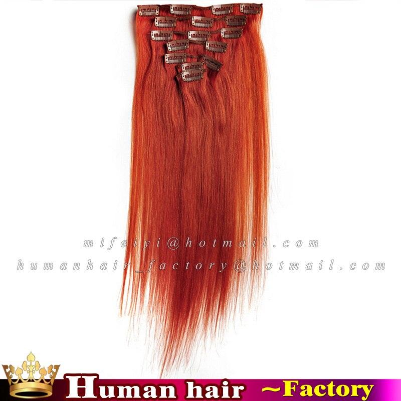 7piecesset Brazilian Human Clip In Hair Extension 350 Orange