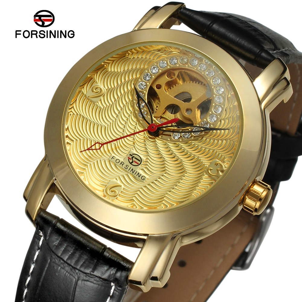 Fashion FORSINING Men Women Luxury Brand Leather Strap Unisex Watch Automatic Mechanical Wristwatches Gift Box Relogio Releges flower princess brand canvas backpack women high school teenage girls school bags preppy style ladies travel mochila escolar