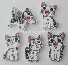 WBNAAO Mix 200pcs Cat shape animal buttons white color Flatback wooden decorative sewing button for baby
