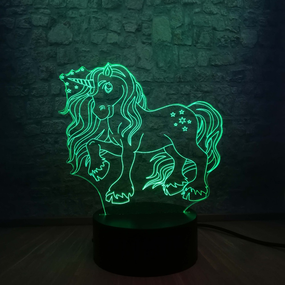 Image 2 - New Kawaii Unicorn Star 3D LED Lamp 7 Colors Change Home Night Light Multicolor RGB Bulb Room Decorative Child Gift Kids Toys-in LED Night Lights from Lights & Lighting