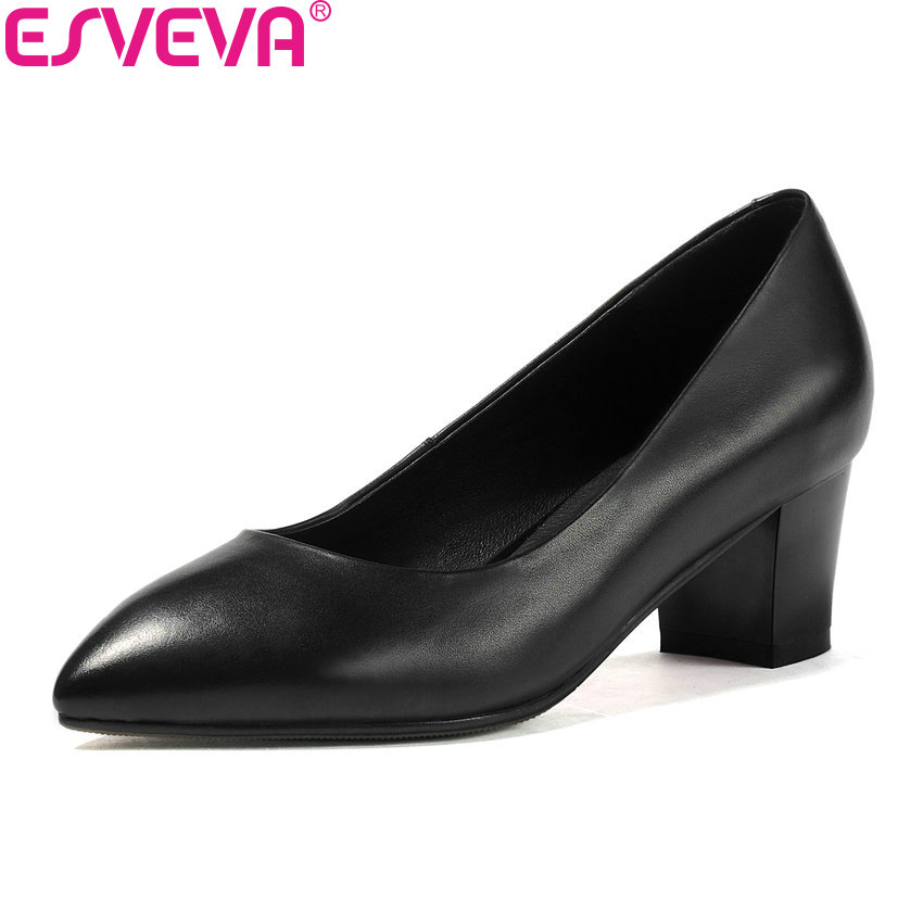 ESVEVA 2018 Women Pumps Shoes Spring and Autumn PU+Cow Leather Office Ladies Shoes High Heel Slip on Work Pumps Shoes Size 34-42 siketu 2017 free shipping spring and autumn women shoes fashion sex high heels shoes red wedding shoes pumps g107