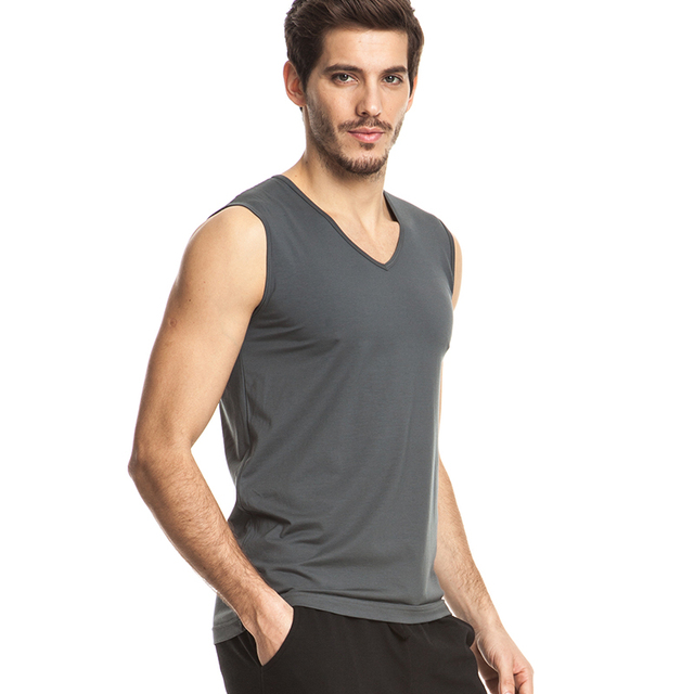THREEGUN Brand Men Modal Undershirts Casual Gilet White Gray Black V-Neck Undershirts Gymclothing Fitness Sleeveless Tops Male