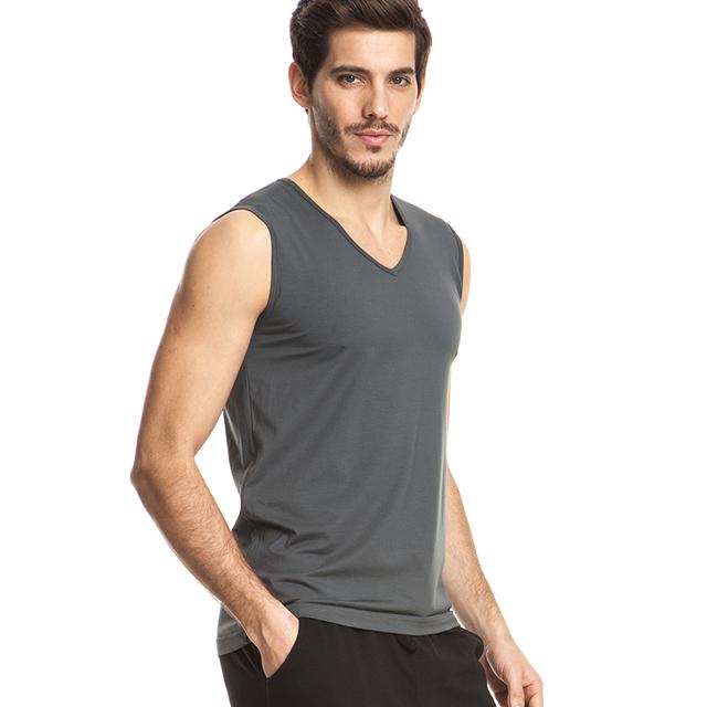 THREEGUN Brand Men Modal Undershirts Casual Gilet White Gray Black V-Neck Undershirts Gymclothing Fitness Sleeveless Tops Male