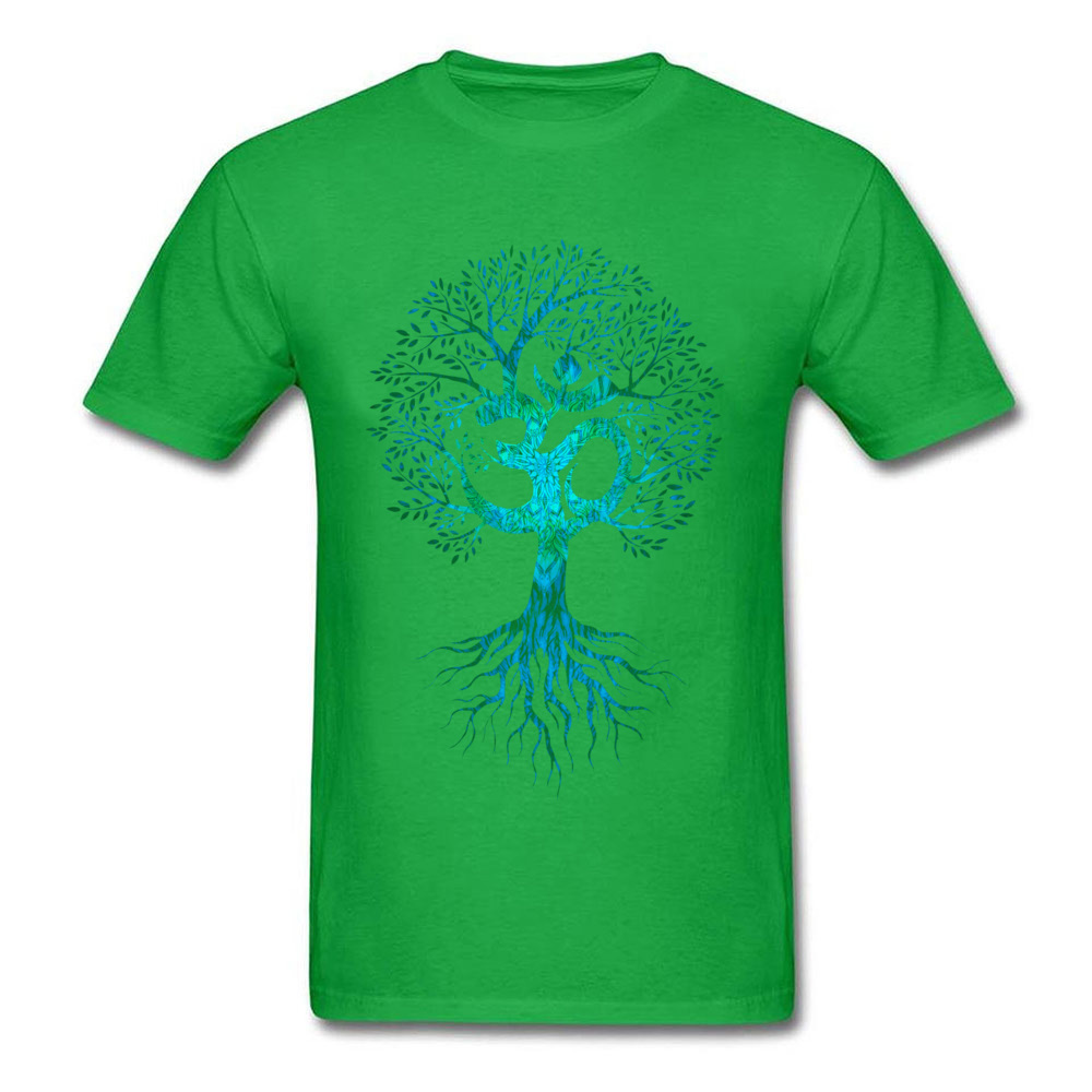 Mens Tshirts Om Tree Of Life Europe Tops & Tees Cotton Fabric O-Neck Short Sleeve Slim Fit Tops Shirt Labor Day Om Tree Of Life green