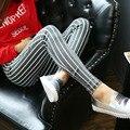 2016 Botón de Otoño de Las Nuevas Mujeres Ropa de Alta Calidad de La Raya Vertical Leggings Pantalones Lápiz Pantalones de Algodón Elástico Mujeres Pantalones