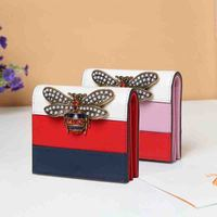 Women Wallet Short Real Leather Metal Pearl Bee Female Fold Card Holder Purse Fashion Striped Brand Designer Wallet Bags