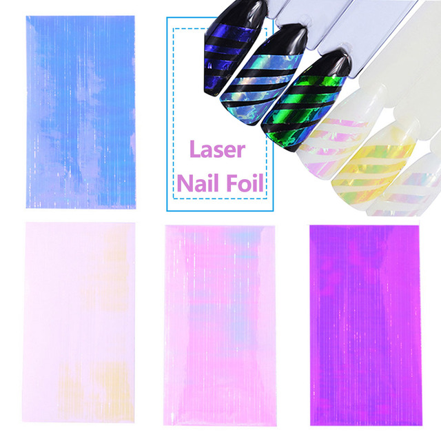 Purple Pink Yellow Blue White Mix Colors 6 Sheets Laser Lines Holographic Ultra Thin Candy Nail Foil Adhesive Sticker