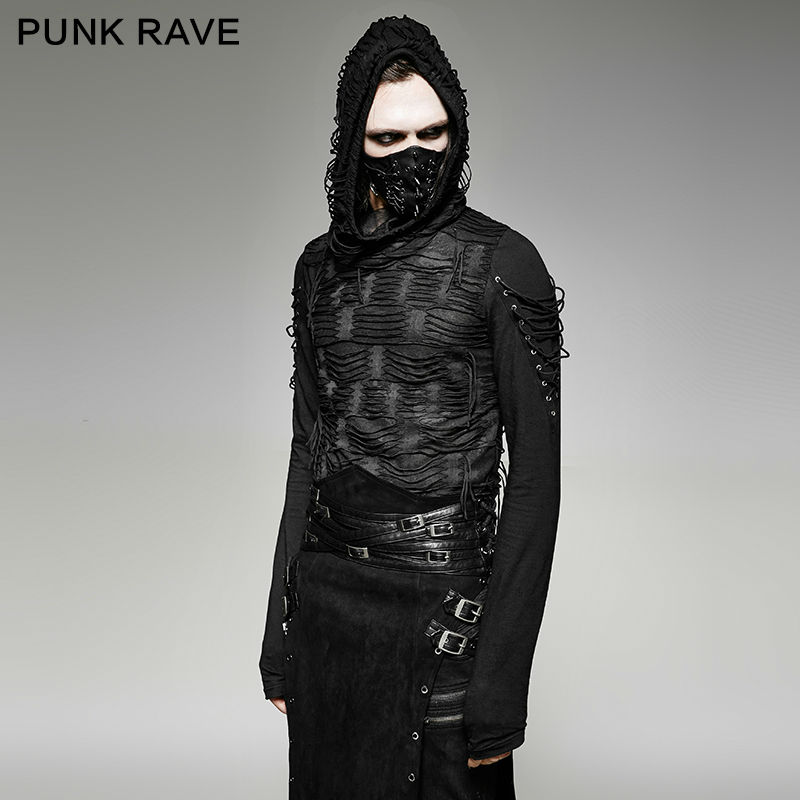 PUNK RAVE Men's T-shirt Punk Rock Cool T-shirt Casual Gothic Novelty Long Sleeve Hooded Sweatshirt Streetwear Personality Tops