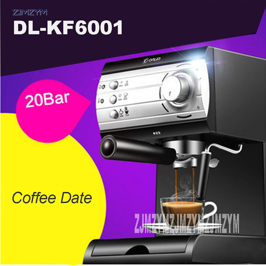 New Arrival DL-KF6001 coffee machine home business Italian semi-automatic steam milk foam instant Coffee machine 220V 850W Hot coffee vending machine with 8 hot drinks