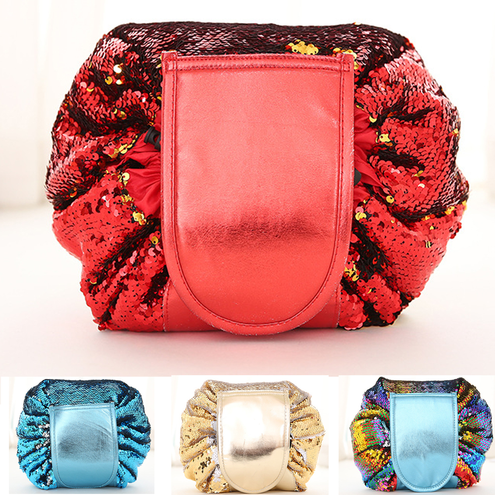 Sequin Travel Drawstring Cosmetic Bag for Make Up Storage Organizer Portable Foldable Toiletries Makeup Jewelry Organizers Case