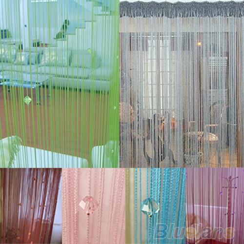 String Door Curtain Fly Screen Divider Room Window Decor DIY Blind Tassel Drape+40pcs Beads  7M9W