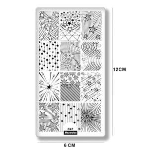 Прямоугольные пластины для стемпинга ногтей с геометрическим узором, трафареты для дизайна ногтей, инструменты для маникюра C47