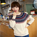 2016 Spring loaded national wind jacquard Diamond Long Sleeved knitted women's sweater wholesale sweater