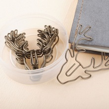 8PCS/Lot Vintage Deer Metal Paper Clips Bookmark Pin Karea Stationery Office  Accessories Memo Clips