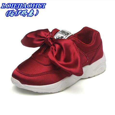 HaoChengJiaDe Kids Girls Shoes With Bow Fashion Sneaker Children Baby Girl Casual Sport Shoes Princess Cute Soft Shoes in stock