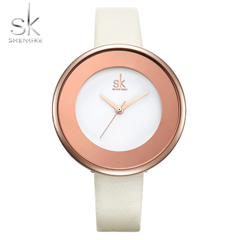 Shengke Top Brand Luxury SK Watch Women Watches Fashion Leather Women's Watches Ultra Thin Ladies Watch SK Clock Reloj Mujer image