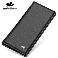 BISON DENIM luxury genuine leather men wallets long slim bifold credit card holder purse wallet