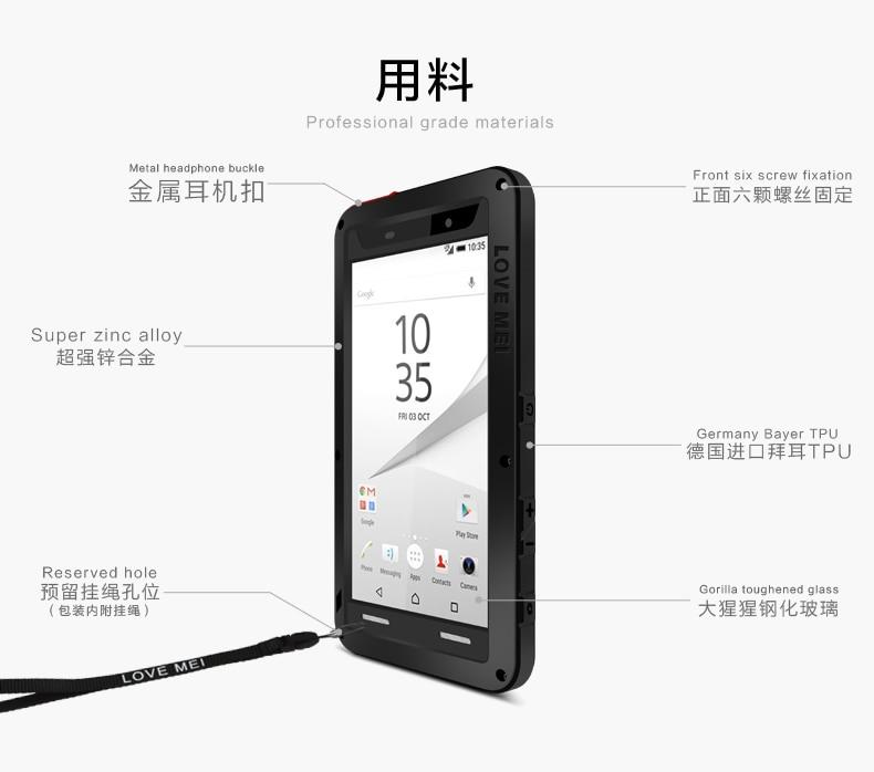 Image 3 - Dla SONY Xperia Z5 3 wytrzymałe etui luksusowe miłość MEI potężny metalowa obudowa E6653 E6633 E6683 E6603 aluminium wodoodporna, odporna na wstrząsy pokrywa w Dopasowane obudowy od Telefony komórkowe i telekomunikacja na