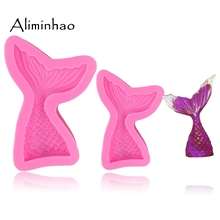 B0562 Mermaid Tail Fondant chocolate Moulds Silicone Mold Cake Decorating Baking Tools Handmade Soap Fish Fork tail