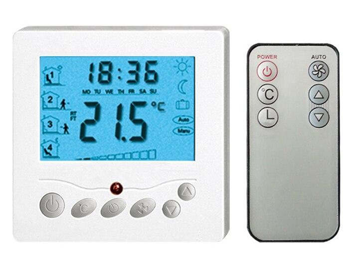 купить  20A Remote Control Floor Heating Thermostat AC220V with Blacklight  TFAE-Y309YL for room warming  онлайн