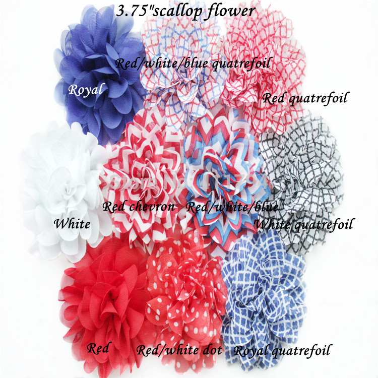 60 pcs lots 3 75 scallop chiffon flowers shabby flowers chiffon headwear accessories 4 th