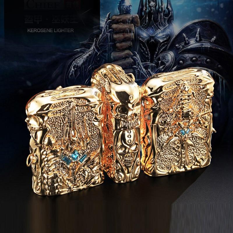 Pure Copper Oil Lighter Vintage Lich King Relief Kerosene Lighter Fire Cigarette Retro Metal Tobacco Men Gadgets Smoker Gift