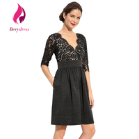 New Fashion Elegant Women Wedding Cocktail Dresses With Lace Sleeves V Neck Vintage 1960s Floral A