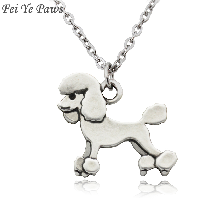 Fei Ye Paws Vintage Poodle Dog Charms Statement NecKlace Animal Pendant For Women Jewelry Pet Gifts Stainless Steel Long Chain
