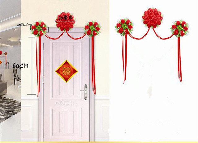 Superb 2015 New Romantic Wedding Door Decoration Artificial Silk Rose Flowers Door  Wreath New Ribbon Wedding Room