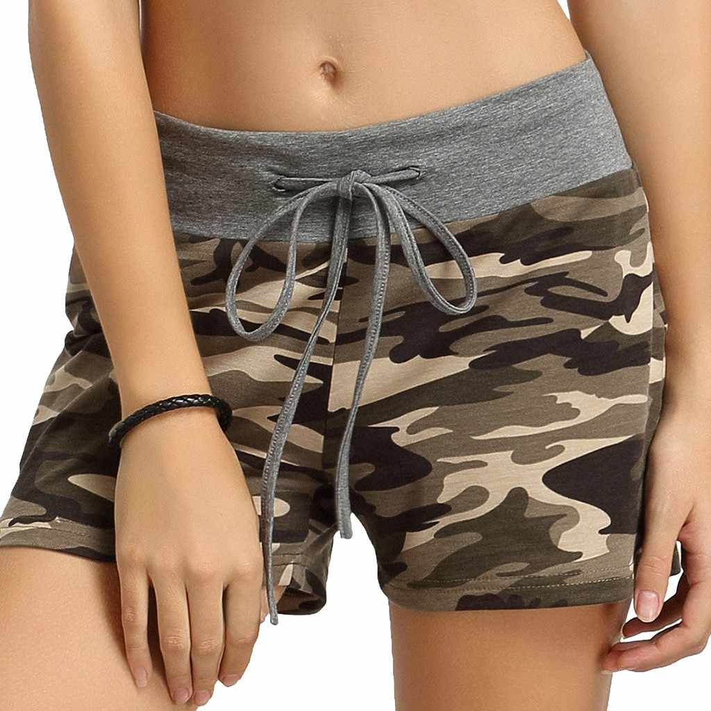 New Women's Large Size Camouflage Printed Elastic Lacing Waist Wide Leg Short Casual Breathable Quick-drying Shorts #Y