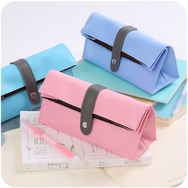 Creative Large Capacity Simple Pencil Case Blue Pen Holder Office School Faux Leather Stationery Bag Student Girls Boys Gift big capacity high quality canvas shark double layers pen pencil holder makeup case bag for school student with combination coded lock