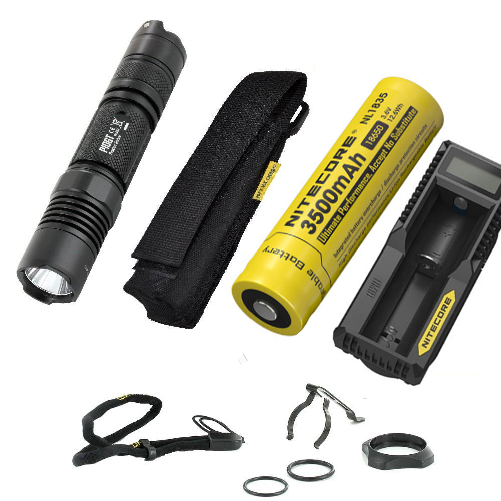 NITECORE P10GT Outdoor Flashlight CREE XP-L HI V3 LED max. 900 lumens beam throw 286 meters tactical light + battery+charger