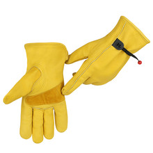 Super eldiven driver gloves work construction Safety anti vibration gloves mechanic Cow Grain Leather Durable Farm Working Glove(China)