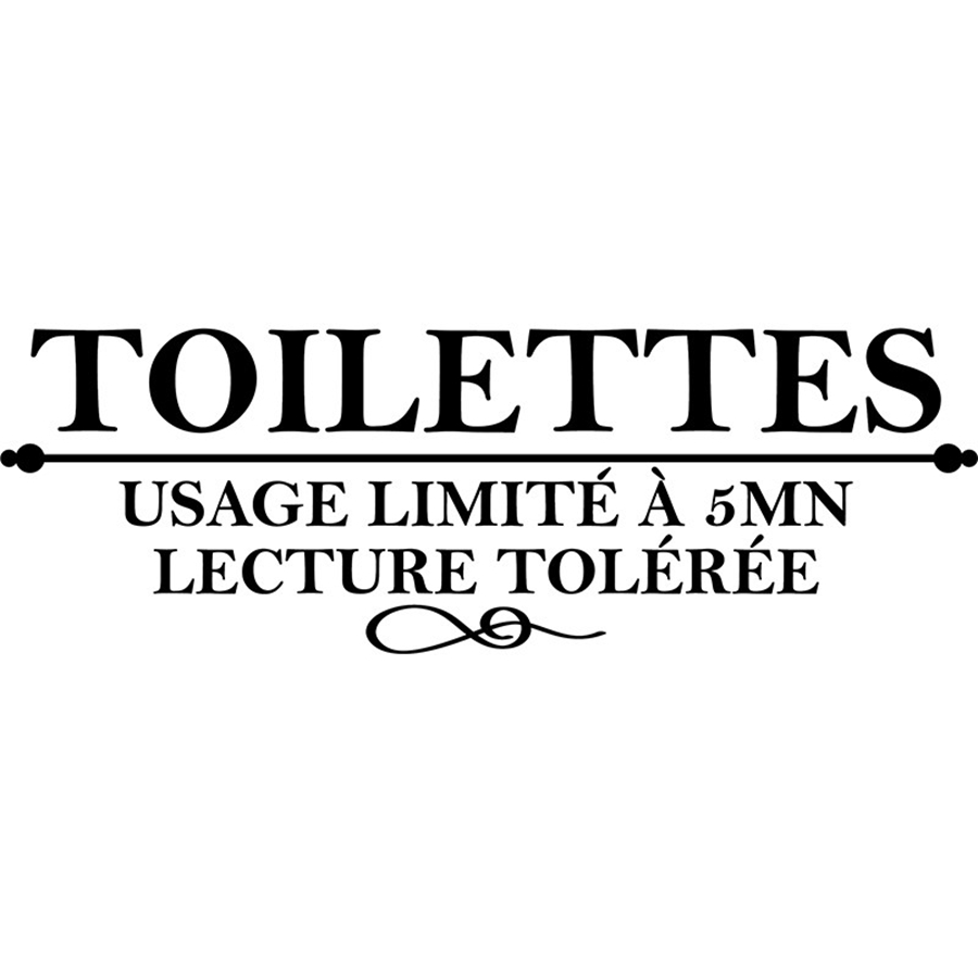 "French Humor ""Toilettes Usage limite a 5 mn ..."" Vinyl Wall Sticker Washroom WC Wall Decals Wall Art For Home Toilet Decoration"