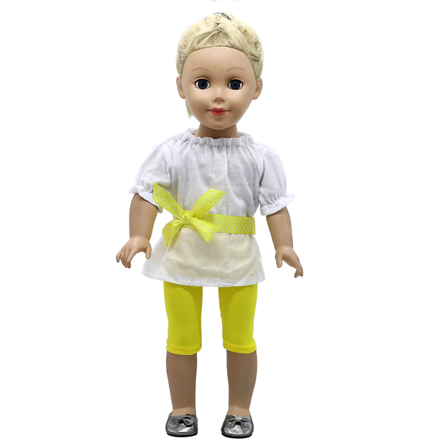 19dfbbb3f316a Hot Selling White Coat Yellow Leggings Accessories Baby Born Doll Suit Fit 18  inch Baby Born Doll Handmade Doll Dress 553