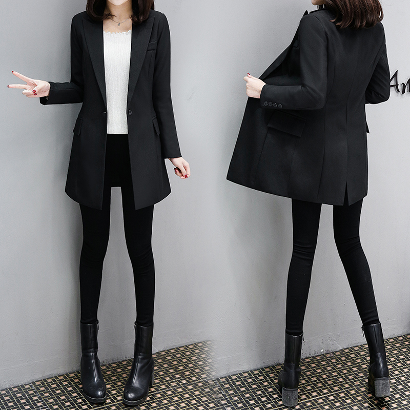 Elegant Women's Long Slim Slim Suit Ladies Jacket 2019 Spring And Autumn New Professional Temperament Chic Suit Jacket