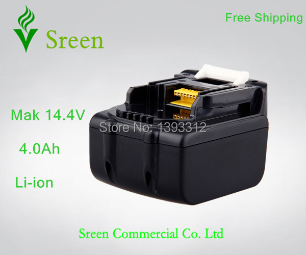 Sreen Rechargeable Li-ion 14.4V 4000mAh Replacement Power Tool Battery for Makita BL1430 BL1440 194066-1 194065-3 Free Shipping 14 4v 4000mah li ion replacement power tool rechargeable battery for bosch bat038 bat040 bat041 bat140 bat159 psr1440 art 26