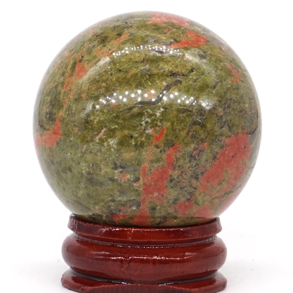 Natural Unakite Stone Ball Mineral Quartz Sphere Hand Massage Crystal Healing Feng Shui Home Decor Accessory 40mm