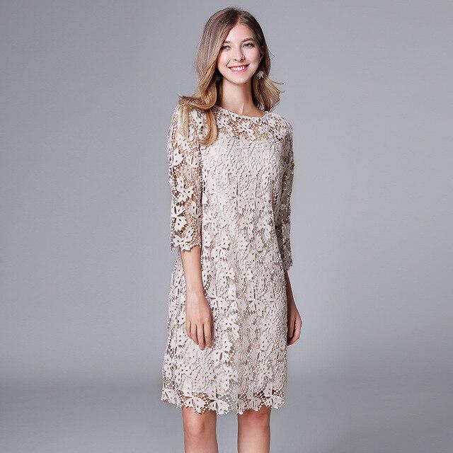 20e465c46 Otoño más tamaño mujeres elegante vestido de encaje media manga del  ganchillo ahueca hacia fuera dos