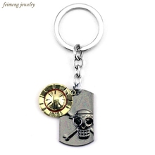 Japanese Anime One Piece Luffy Straw Hat Skull Double Pendants Keychain Key Ring porte clef keychain car