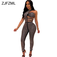 Shiny Rhinestones Sexy Bodycon Jumpsuit Women Waist Band Cut Out Sleeveless Party Bodysuit Elegant One Shoulder One Piece Romper