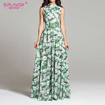 S.FLAVOR Women floral Print Dress Bohemian Style Sexy Casual O Neck Sleeveless Vintage Long Dress Elegant Party Vestidos - DISCOUNT ITEM  47% OFF All Category